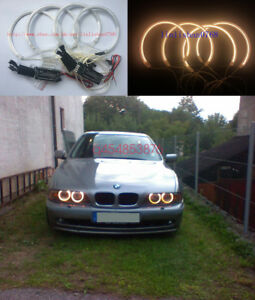 4 X Yellow Excellent Ccfl Angel Eyes Kit For Bmw E46 Sedan Facelift