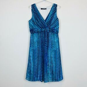 Basque-Womens-Blue-Sleeveless-Lined-Dress-Size-12
