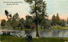 Florida, FL, Jacksonville, Pond in Springfield Park Early Postcard