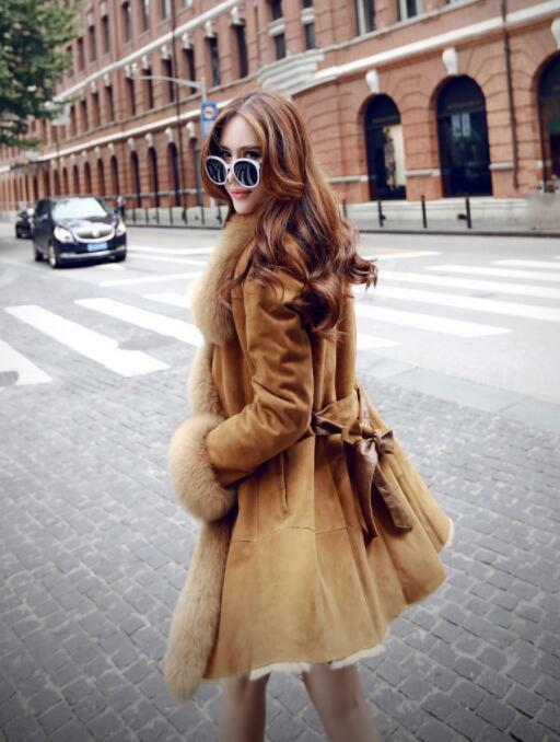 Womens Ladies Fashion Faux Suede Fur Lined Bow Bow Bow Tie Winter Warm Coat Outwear 7899 c93ce0