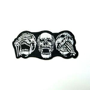 Skull-See-No-Evil-Hear-No-Evil-Speak-No-Evil-Patch-Iron-On-Patch-Applique-Biker