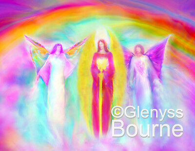 "COMMUNION OF ARCHANGELS Lg 11X14"" Spiritual Angel Art Painting by Glenyss Bourne"