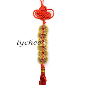 6-Coins-Chinese-Knot-Tassel-Hanger-Feng-Shui-Wealth-Key-Ring-Keychain-Car-Decor