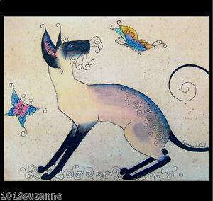 LARGE-UNMOUNTED-SIAMESE-CAT-AND-BUTTERFLIES-PAINTING-PRINT-BY-SUZANNE-LE-GOOD