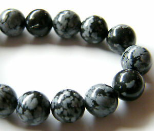 40pcs-10mm-Round-Natural-Gemstone-Beads-Snowflake-Obsidian