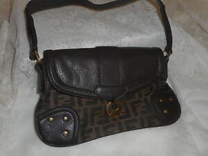 FENDI SAS ROMA ITALY 1925 VINTAGE ZUCCA MONOGRAM BROWN SHOULDER BAG ... daa755f869669