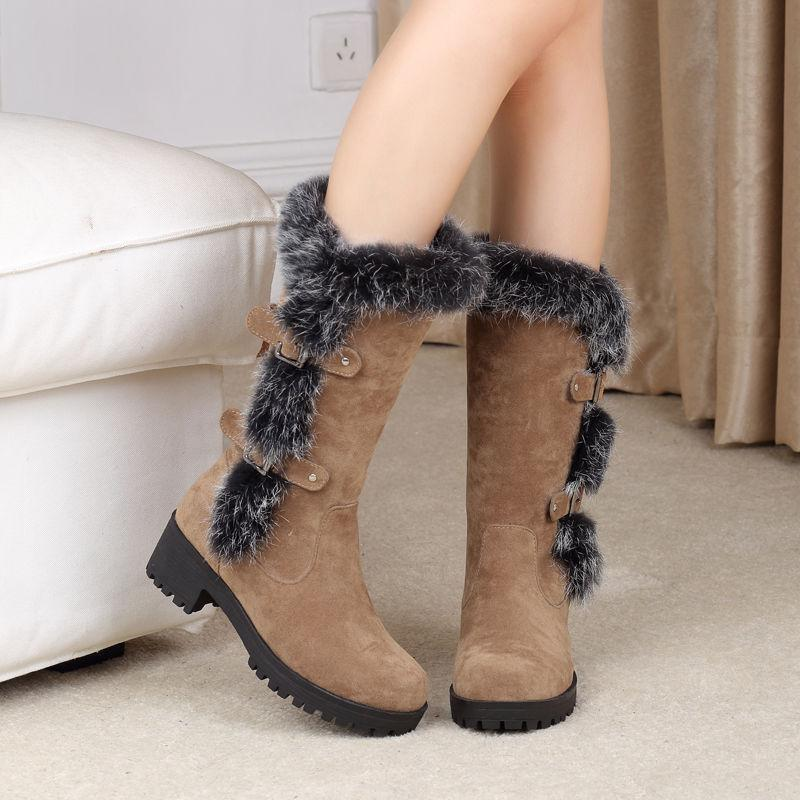 Hot Womens Warm Fur Furry Lined Winter Mid Calf Snow Boots Low Cuban Heel shoes