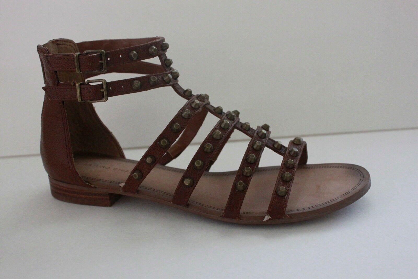 Arturo Chiang pour femme en cuir marron clous Gladiateur Chaussure Sandale Taille 7/7.5 M New In Box