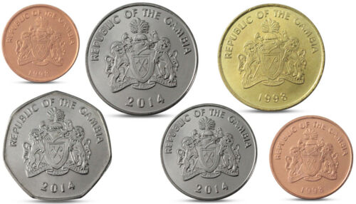 10 1 DALASI 1998 2014 UNC 25 GAMBIA CURRENCY SET 6 COINS 1 5 50 BUTUTS