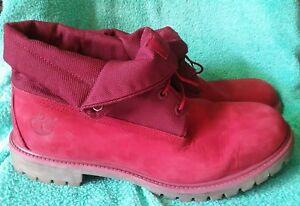 Homme Chaussures Monochrome Décontracté Rouge Bottes Revers Timberland Nubuck a6wHU