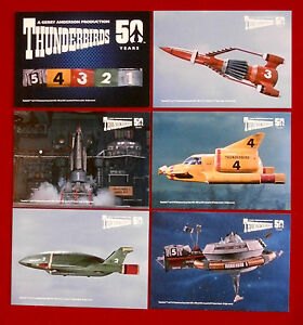 THUNDERBIRDS 50 Years - COMPLETE SET of 6 POSTCARD-SIZED cards - Unstoppable