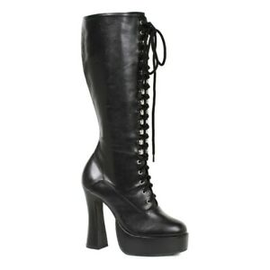 Ellie-EASY-Black-5-inch-Cosplay-Goth-Heel-Platform-Knee-Boots-W-Zipper
