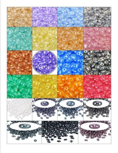 Perles De Verre Preciosa Twin duo perles de rocaille ~ finition perle ~ deux trous 2.5x5mm ovale