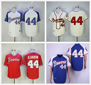 407208a69 Men s BP Throwback Jersey White Royal Red Cream Atlanta Braves  44 ...