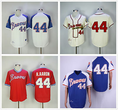 finest selection 2c82f bd0df Men's BP Throwback Jersey White/Royal/Red/Cream Atlanta Braves #44 Hank  Aaron | eBay