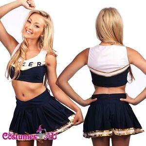 ladies navy blue cheerleader costume uniform outfit girls school fancy dress ebay. Black Bedroom Furniture Sets. Home Design Ideas