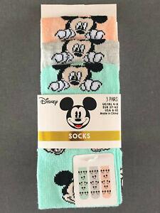 3 Paar Disney Mickey Mouse Damen Socken Pastell Micky Maus Kopf 37