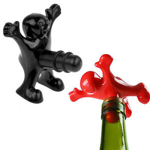 Funny happy man guy wine opener stopper novelty home bar tools bottle cork plug - Funny wine openers ...