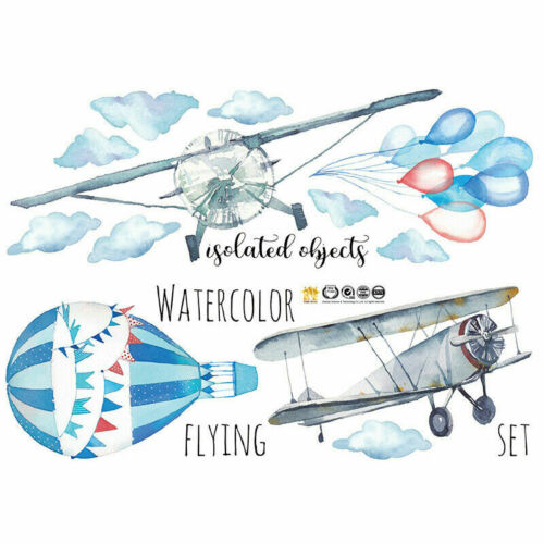 Wall Stickers Watercolor Airplane Hot Air Balloon kids Baby Rooms Pvc