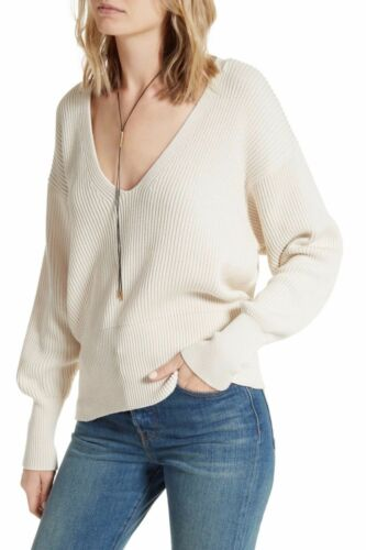 Geribbeld v met S hals Large sweater Free Nwt Pullover People Maat Allure ivoor qgX18Ww