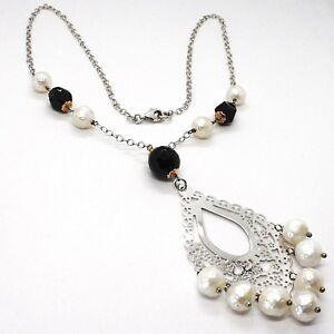 Collar-Plata-925-Onix-Negro-Perlas-Blancas-Colgante-Floral