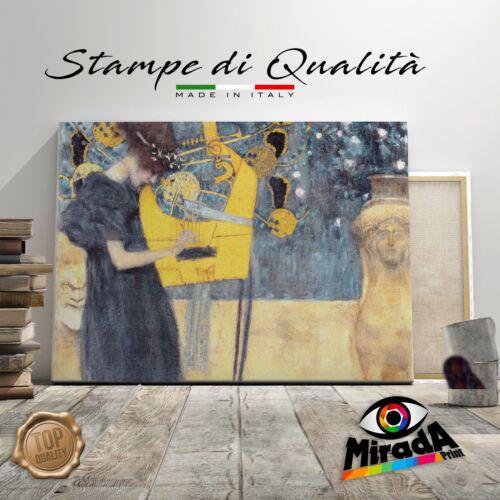 QUADRO Gustav Klimt Musica STAMPA TELA CANVAS arredo canto arte teatro canzone