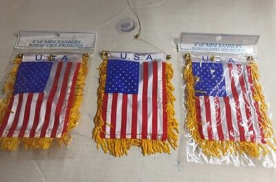 """Wholesale lot 3 Costa Rica Mini Flag 4/""""x6/"""" Window Banner w// suction cup"""