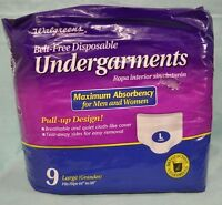 Walgreens Protection Large 9 Pk Women Men Unisex Underwear Pull Up Maximum Absor