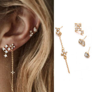 8a4782a090ea2 Details about New simple fashion trend temperament cross diamond set of 4  sets of earrings