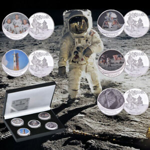 5pc-APOLLO-11-50th-Anniversary-Armstrong-Moon-Landing-Silver-Coins-With-Gift-Box