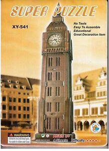 3d Puzzle Big Ben Westminster Clock Tower London 4 Feuilles De L'éducation Grand Modèle-afficher Le Titre D'origine Toujours Acheter Bien