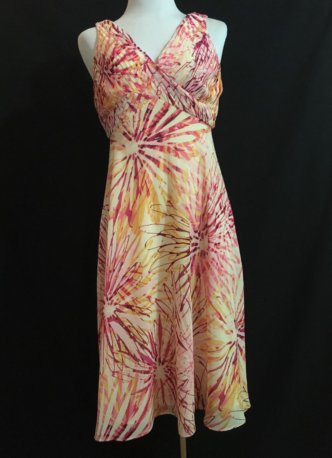 ..ADRIANNA PAPELL women's orange yellow Sunburst Sleeveless Dress Sz 4