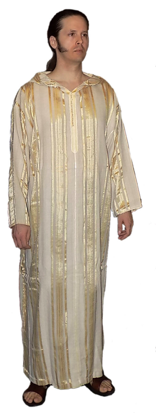 Mgoldccan Men Djellaba Hooded Caftan Kaftan Thobe Abaya Handmade Arab brown