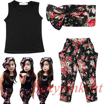 3pcs Girls Outfits Headband+T-shirt+Floral Pants Kids Clothes Set Summer Outfits