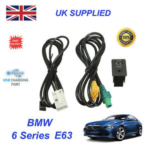 For BMW 6 E63 USB Aux Switch & USB Wire 3.5mm AUX Cable Adapter 3CD 035 249 A