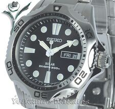 New SEIKO SOLAR DIVERS Black Dial Day & Date Stainless Steel Bracelet SNE107P1