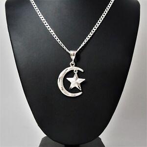 2-034-Tall-Genuine-925-Sterling-Silver-Crescent-Moon-amp-Star-Islam-Muslim-Pendant