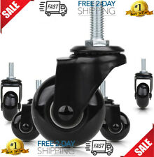 Replacement Chair Caster Wheels 2 Heavy Duty Soft Pu Wheels Threaded Stem M10