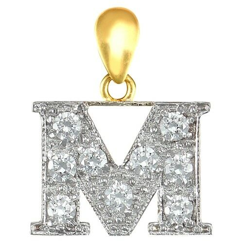 Fashion 9ct Yellow Gold Womens Stunning CZ Initial M Letter Pendant 18.2mm