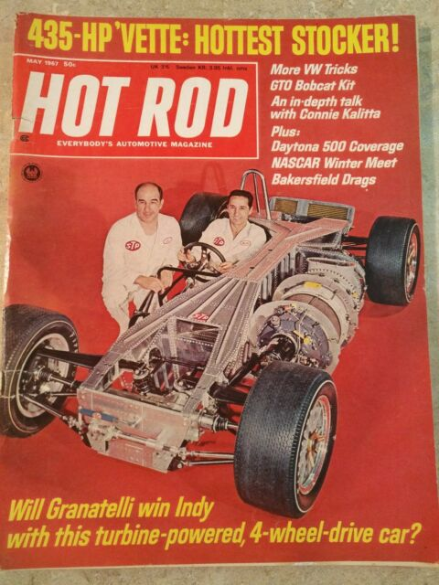 MAGAZINE HOT ROD  MAY 1967 GTO CROSSBREED CORVETTE DAYTONA 500 WILL GRANATELLI
