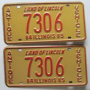sc 1 th 225 & Illinois 1985 ANTIQUE VEHICLE License Plate PAIR HIGH QUALITY # 7306