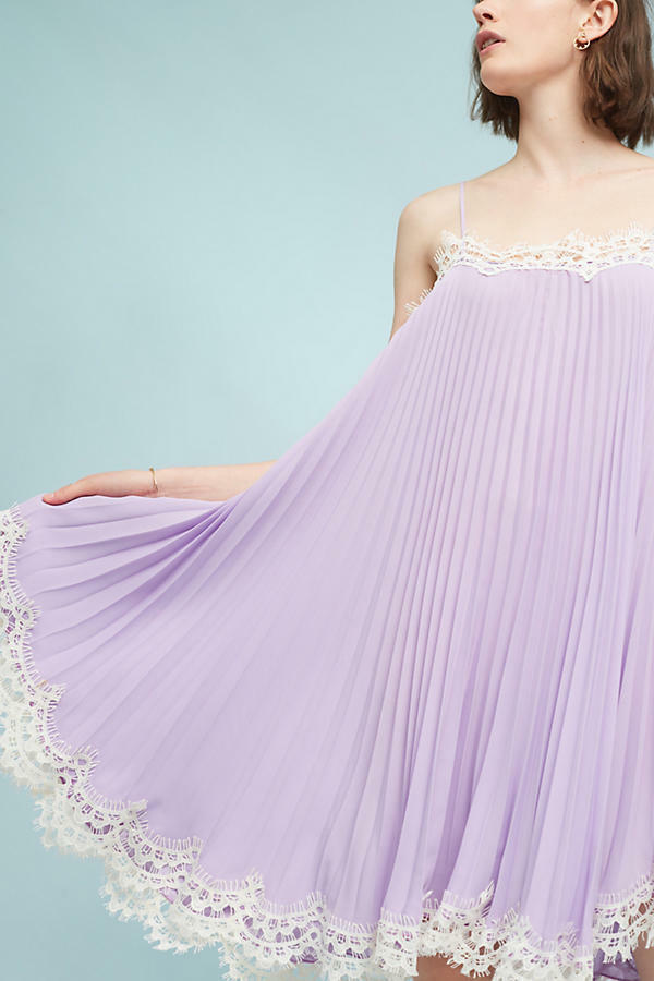 NEW Anthropologie Pleated Slip Dress by Moulinette Soeurs, Lilac, Größe MP