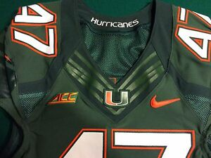 super popular 44ef8 2486a Details about Miami Hurricanes 2014 Nike Flywire Game Worn Jersey #47Ufomba  Kamalu Texans PATS