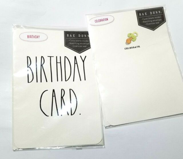 NEW 2-Pack RAE DUNN Celebrate Baby and Birthday Greeting Cards Original Package