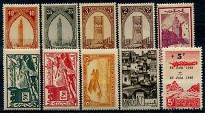 MAROC-Ex-Protectorat-10-timbres-neufs-differents