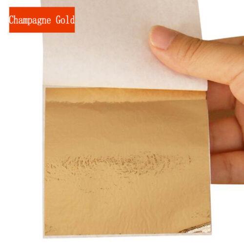 100 Sheets Foil Leaf Paper Imitation Gold Silver Copper Leaf Gilding Craft Art