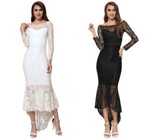 Women-Elegant-Lace-Off-Shoulder-Fishtail-Frill-Evening-Wedding-Formal-Long-Dress
