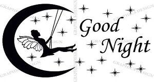 Bonne Nuit Lune Fée Swing Autocollant Mural Vinyle Décoratif Art Chambre Décalcomanie-afficher Le Titre D'origine Pour Effacer L'Ennui Et éTancher La Soif