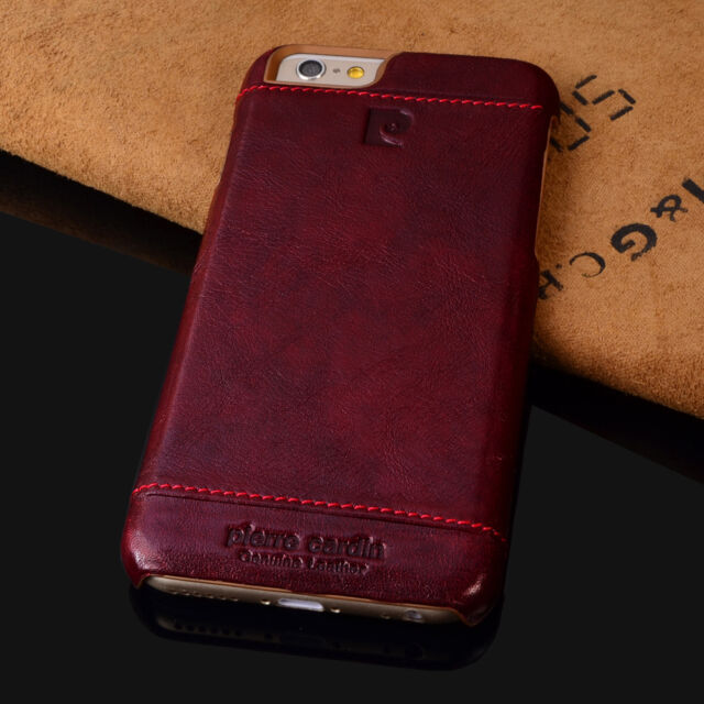 PIERRE CARDIN Genuine Leather Cover Hard Back Case For iPhone 6 6S (4.7')  Red