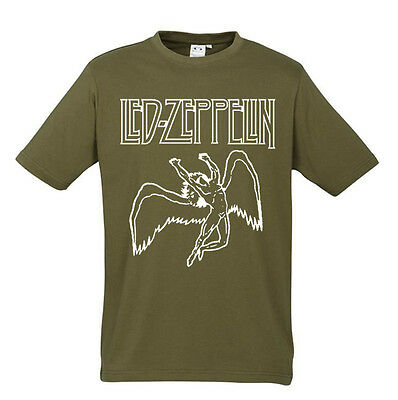Led Zeppelin New Khaki T-shirt The Swan Song S M L XL XXL Pink Floyd  The Doors